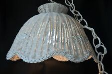 "eb2411 Swag Lamp Hanging Wicker Rattan Lamp 16.75"" Diameter Chain Pull On Off"