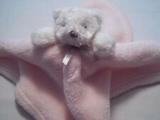 Blankets & and Beyond Pink White Bear Baby Lovey Security   Blanket Gray  Bow