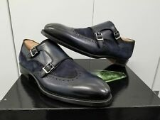 Magnanni Villar Leather/Suede Double Monk Strap Loafer Wingtip - Navy - Size: 10