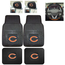 7pc NFL Chicago Bears Heavy Duty Rubber Floor Mats & Steering Wheel Cover