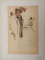 Dessin Ancien Étude BRETAGNE Mer Plage Personnage JEAN DULAC 1919 Angers #2