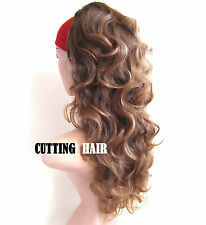 Brown Blonde Tinted 3/4 Full Long Curly Half Wig Hairpiece 29-4/27