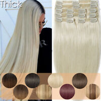 Real AAA++ Clip In 100% Remy Human Hair Extensions Full Head Double Weft Thick W