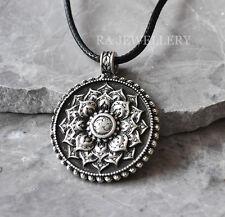 Antique Silver Plt Tibetan Healing Mandala Pendant Necklace Buddha Buddhism Gift