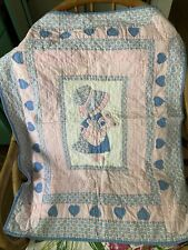 Vintage Pink & Blue Hand Stitched Hanging Child's Quilt Girl Teddy Bear 28 X 32�