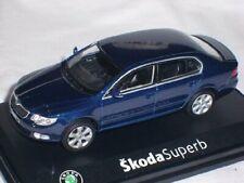 SKODA SUPERB 2 TSI PHASE 1 2008 METAL STORM BLUE ABREX 143AB-010KC 1/43 blau
