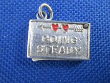 Movable Going Steady Charm Vintage Sterling Silver Enamel