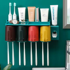 2/3/4 Cups Toothbrush Holder Rack Toothpaste Extruder Dispenser Wall Mount