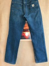 Carhartt traditional fit blue denim jeans size 30 x 32 cotton polyester zip fly