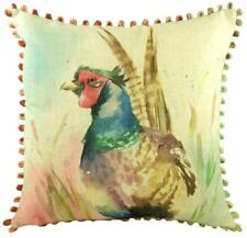 LUXURY EVANS LICHFIELD COUNTRY PHEASANT POM POM LINEN LOOK CUSHION COVER 17""