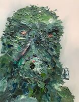 Original Abstract Swamp Thing Dc Comics Portrait Painting Comic Wall Art 14""