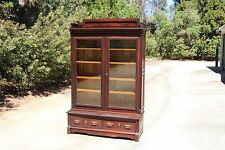 Fabulous Large Walnut Victorian Original Finish Wavy Glass Bookcase with Gallery