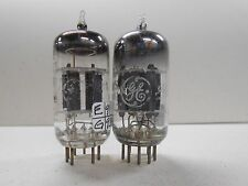Ge Short Gray Plate 12Ax7(A) Vacuum Tubes (2) Strong 93/106% and 87/87% Gm