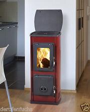 Thorma Design Milano II Rot Kaminofen mit 5 kW Werkstattofen 24 Stunden Betrieb