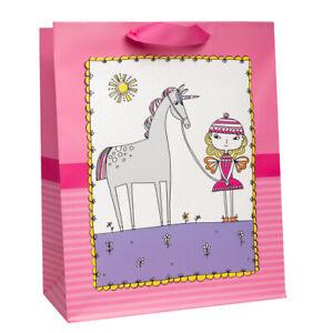 "Hallmark 13"" Large Gift Bag For Girls With Cloth Handles Cute Unicorn & Fairy"