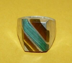 ~VINTAGE~MENS~MEXICO~925~STERLING~w/~TIGERS~EYE~&~MALACHITE~RING~SIZE~12~SIGNED~