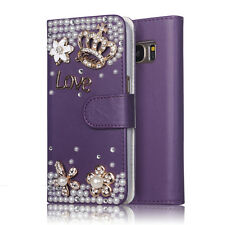 Samsung Galaxy S7 Case 3D Purple Crystal Bling Flip Leather Wallet Diamond Crown