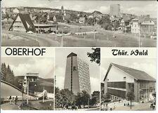 """Ansichtskarte Oberhof """"FDGB-Heim Rennsteig, Einkaufszentrum, Bob-Bahn"""" s/w"""