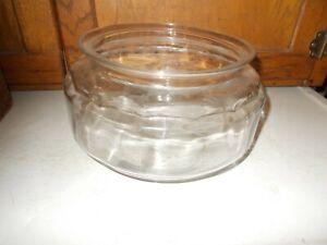 """Vintage Large Clear Glass Low Fish Bowl Terrarium 10"""""""