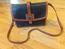 Vintage Women's Stepan Italy Leather Black & Brown Handbag Purse Bag Cross Body