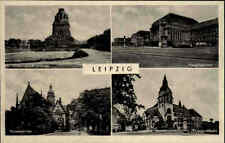 Leipzig um 1955 Mehrbild-AK Bahnhof, Thomas-Kirche, Kongreßhalle und Denkmal
