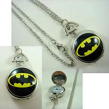 DC BATMAN Girl Women Ladies Men Boy Child Fashion Pocket Watch Necklace + CHARM