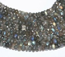 """AAA 14"""" Natural Blue Fire  Labradorite Faceted Rondelle  Beads 6mm"""