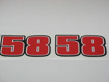 """Marco simoncelli 58 """"ciao marco"""" vélo autocollant decals x 2 stickers 60mm x 25mm"""