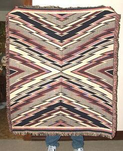 "50x60"" Blanket Sofa Throw Soft Jacquard Cotton Earthtones Zig Zag Design  NEW"