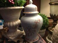 "Andrea By Sadek-10.5""H-Ginger Jar-Crackle Finish/Peach & Brown Floral-Beautiful!"