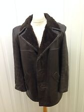 "Mens Vintage Faux Fur Lined Leather Coat - 46"" Chest - Brown - Great Condition"