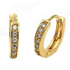 18K GOLD OVER STERLING SILVER HUGGIE EARRINGS WITH CZ STONES!!!