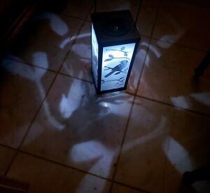 SOLAR Bird & Branch Garden Lantern. Metal & Glass.