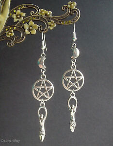 Earth Mother Goddess Pentagram Moon Long Dangly Earrings Pagan Wicca Witch