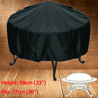 Patio Round Fire Pit Cover Waterproof UV Protector Grill BBQ Cover Outdoor Yard
