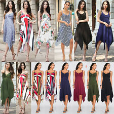 AU Women Ladies Summer Floral Skirt Party Holiday Beach Sundress Boho Long Dress