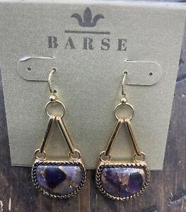 Barse Ecuador Half Moon Earrings-Bronze Infused Amethyst-Bronze- NWT