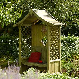 Premier Deluxe Garden Arbour Bench Seat Pressure Treated