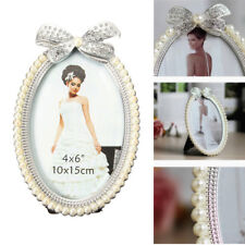 6'' Oval Photo Picture Frame Crystal Bow Pearl Home European Style Decoration