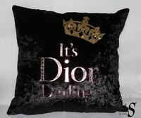 Black Crushed Velvet, Gold Glitter Crown, Rose Gold foil Custom Cushion.