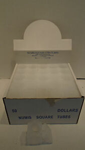 Box of 50 Meghrig Numis Square Coin Tubes Holder Large Dollar $ Morgan Ike 38mm