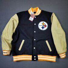100% Authentic Steelers Mitchell Ness Wool Leather Varsity Jacket Size XL Mens