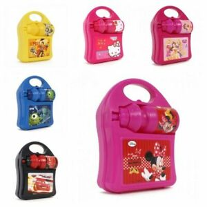 New Kids Girls Boys Disney Character Hard School Lunch Box Set With Water Bottle