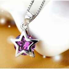 Silver Plated Zircon Necklace Crystal Purple Pendant Gift Jewelry Fashion Star