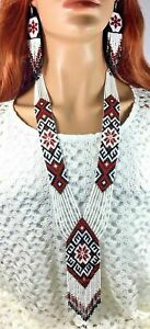 HANDCRAFTED BEADED  ETHNIC NATIVE STYLE BROWN WHITE NECKLACE EARRINGS SET S58/7