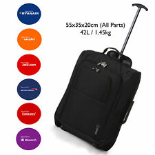 """5 Cities Easyjet 55x35x20cm Cabin Approved Trolley Bag Hand Luggage Case 21""""  BK"""