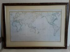 Large Vintage Map Exhibiting Captn James Cook Discoveries & 2 Preceeding Voyages