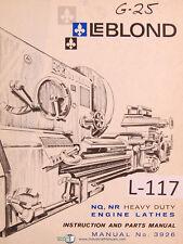 Leblond Nq Nr Engine Lathe Operators Instruction And Parts Manual 1966