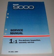Service Manual Saab 9000 Inspection Warranty Service Modelljahr 1985 / 1986!