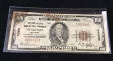 $100 Brown Seal Note From Muskogee OK Series 1929